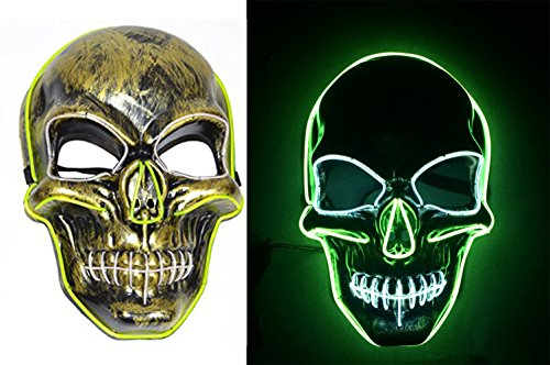 Price comparison product image NIGHT-GRING Frightening EL Wire Halloween Cosplay Led Skull Mask Light Up Mask for Festival Parties - 1pc