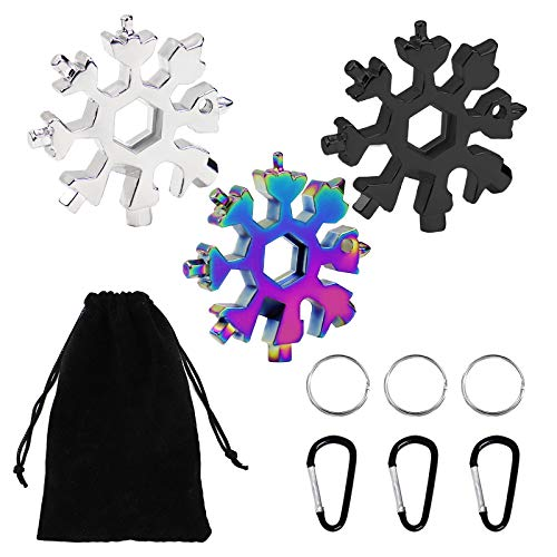 Snowflake Multi-tool,3 Pcs 18-in-1 Snowflake Standard Multi Tool, Stainless Steel Snowflake Wrench with Carabiner Clip, Key Ring and Storage Bag,Durable and Portable to Take
