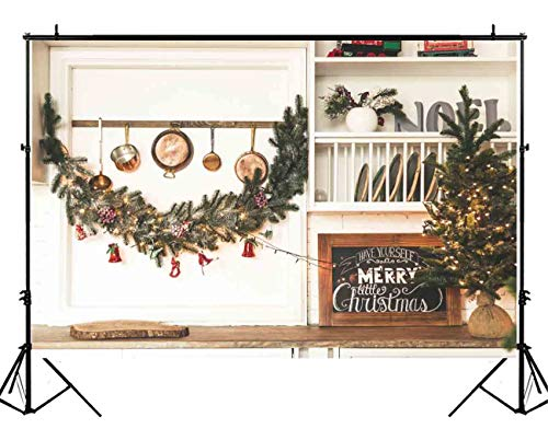 Funnytree 7x5ft Christmas Kitchen Photography Backdrop Xmas fVintage Cooking House Background Pine Tree Decoration Interior Baby Kids Portrait Photo Studio Photobooth Props