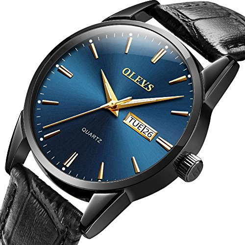 OLEVS Men's Alloy Quartz Watches Analog Week Date Business Casual Wristwatch Waterproof 30M Blue/White/Black/Gold Dial Brown Genuine Leather 3ATM Simple Classic ()