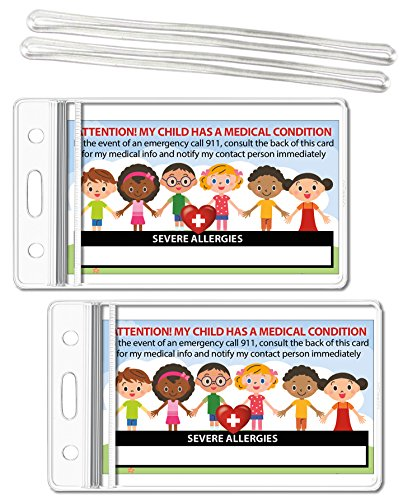 - My Child Has Severe Allergies Medical Condition ICE Alert in Case of Emergency I.D. Identification Wallet Card Heavyweight 32 Pt. CardStock - Our Thickest (Qty. 2 w/Sealable Pouches)