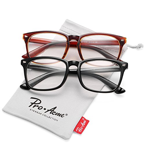 Pro Acme New Wayfarer Non-prescription Glasses Frame Clear Lens Eyeglasses (Black + - Glasses Fashion Prescription Non