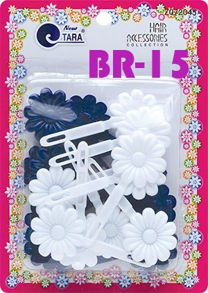 Flower Hinge - Tara Girls Self Hinge Plastic Flower Hair Barrettes 18 Pieces Selection (Blue White)
