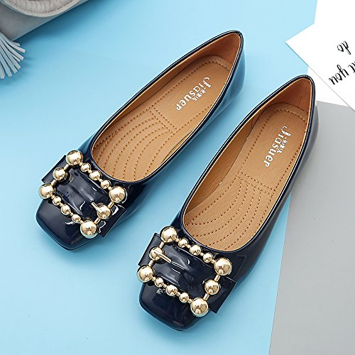 Shoes Meeshine Slip On Womens Navy Blue Flats Square Loafer Pearl Casual Buckle Low Toe vwxHEnrqvt