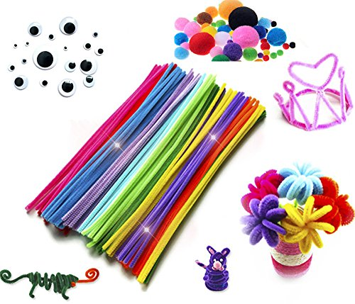 XINHONGJING 500 Pieces Pipe Cleaners Set,Including 100 Pieces 10 Colors Pipe Cleaners,250 Pieces 5 Size Pom Poms and 150 Pieces 3 Size Wiggle Googly Eyes For Craft DIY Art Supplies (Halloween Wreath Craft Project)