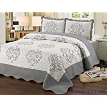 Quilt King Size 3 piece Bedding Bed set / Bedspread / embroidered / 2 pillow sham, Silver
