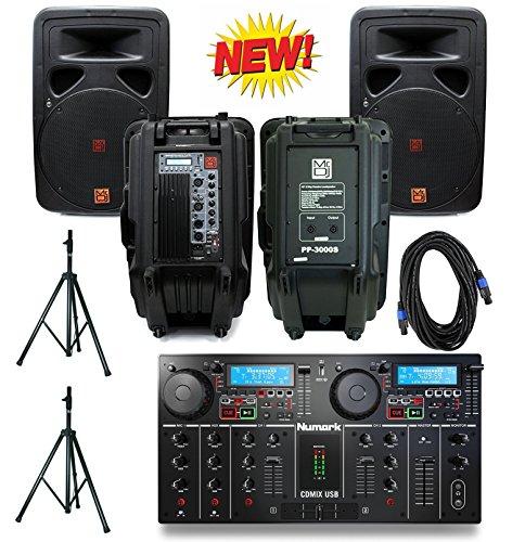 Numark CDMIX USB Self‑Contained DJ System W/ Mr. DJ PP3500BT 2500-Watt Bass Amplifier Cabinet with Max Power Speaker+ Mr. Dj PP3000S 2500 Watts Max Peak Full Range Speaker Bundle