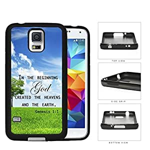 Genesis 1:1 Bible Verse with Tree & Sky Background [Samsung Galaxy S5 SM-G900] Rubber Silicone TPU Cell Phone Case