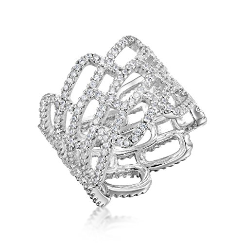 Kezef Cubic Zirconia Micro Pave CZ Wide Band Cocktail Ring Size 9 By Creations