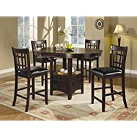 Coaster Home Furnishings Lavo 5 Piece Counter Height Dining Set with Table with Extension Leaf and 4 Chairs , in Cappuccino