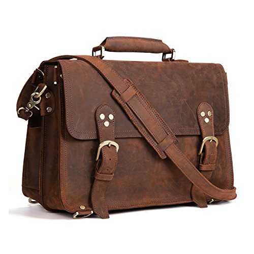 Kattee XZ170-FBA 3-Way Men's Crazy Horse Leather Vintage Briefcase Travel Backpack 15'' Laptop Shoulder Bag Handbag by Kattee