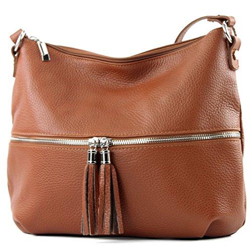 de Umhängetasche Schultertasche modamoda Cognac Damentasche Tasche ital Ledertasche Leder T159 YZdIwdq