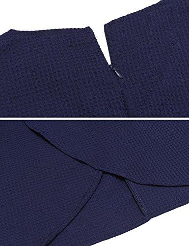 Meaneor Vestido Mujeres Sin Mangas Fiesta Solido Ajustado Casual Plisado Corto V-cuello Elegante Azul oscuro