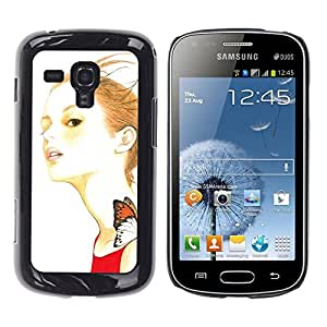LECELL -- Funda protectora / Cubierta / Piel For Samsung Galaxy S Duos S7562 -- Artsy Girl Butterfly --