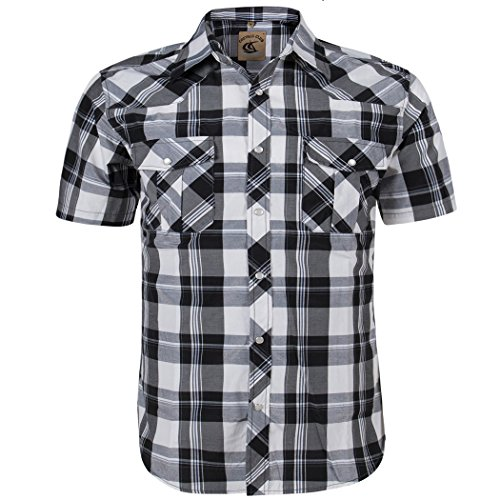 (Coevals Club Men's Snap Button Down Plaid Short Sleeve Work Casual Shirt (Black & White #16,)