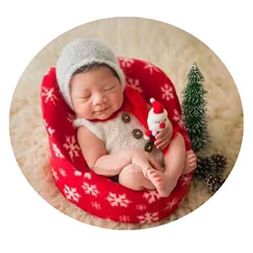 newborn baby photo props small sofa seat for boys girls christmas photography shoot aid red