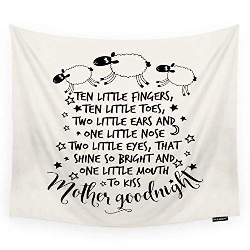 HGOD DESIGNS Funny Tapestry Wall Hanging Funny Sheeps Poem Ten Little Fingers Ten Little Toes Room Decorative Wall Tapestry for Men/Women/Girl/Boy Polyester 60