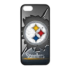 Zyhome iPhone 5,5S Pittsburgh Steeler Heavy Metal Design Case Cover for iPhone 5,5S TPU (Laser Technology)