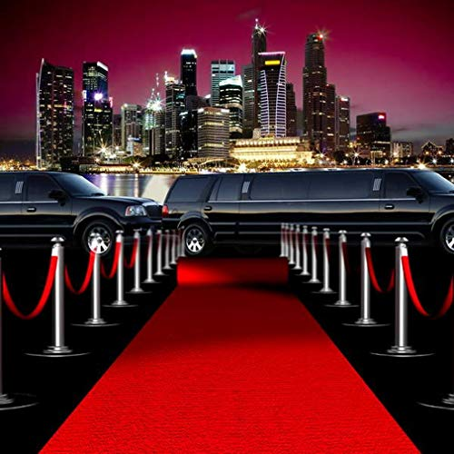 10x10 ft Red Carpet Backdrop for Pictures for Parties Limousine City Skyline Hollywood Theme Photography Studio Background]()
