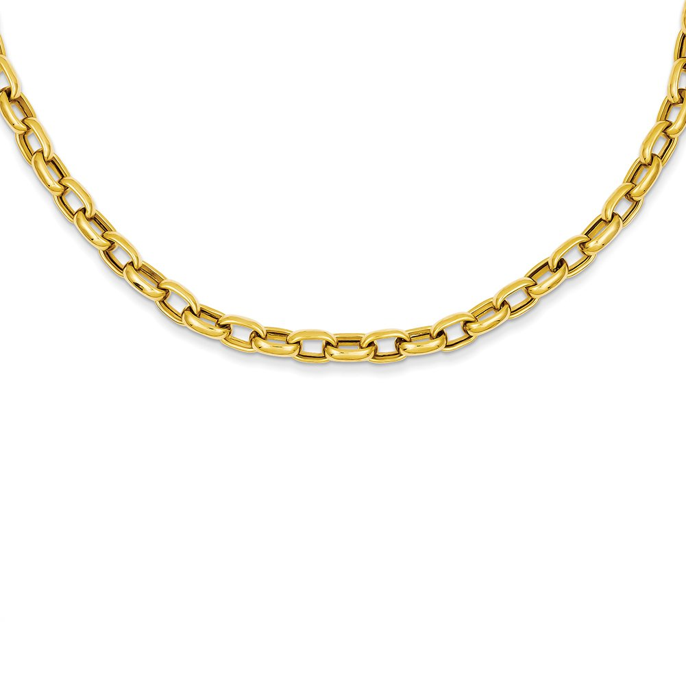 14k Yellow Gold 18in 4.5mm Polished Fancy Link Necklace or Bracelet SF425
