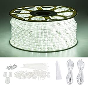 GuoTonG 131.2ft Plugin Rope Lights, 1440 Daylight White LEDs, 110V, 2 Wire, Waterproof, Connectable, Power Socket Connector Fuse Holder, Indoor/Outdoor Use, Ideal for Backyards, Decorative Lighting