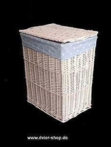 D Vier–Cesta para la ropa sucia (mimbre de ancho 40x fondo 30x altura 52), color blanco y azul claro
