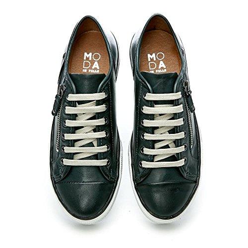 Moda in Pelle Damen Sneaker Grau Blaugrün Blaugrün