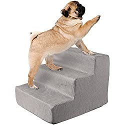 High Density Foam Pet Stairs 3 Steps with Machine Washable Zippered Removeable Micro-Fiber Cover with non-slip bottom by PETMAKER – Print on Gray