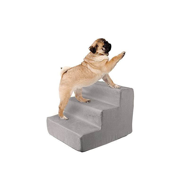dog supplies online high density foam pet stairs 3 steps with machine washable zippered removeable micro-fiber cover with non-slip bottom by petmaker - print on gray