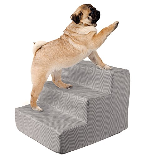 (High Density Foam Pet Stairs 3 Steps with Machine Washable Zippered Removeable Micro-Fiber Cover with non-slip bottom by PETMAKER - Print on Gray)