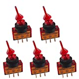 E Support™ Car 12v 20a 20amp 3p Red LED Light Off/on Spst Toggle Rocker Switch Pack of 5