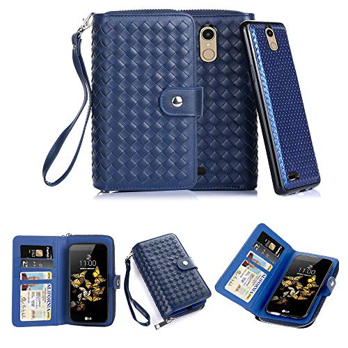 (TabPow LG Aristo, LG LV3, LG K8 2017 Case, Weave Zipper Cash Slot, Card Slots, Button Snap, Flip PU Leather Wallet Case Cover With Detachable Magnetic Hard Case - Weave Blue)