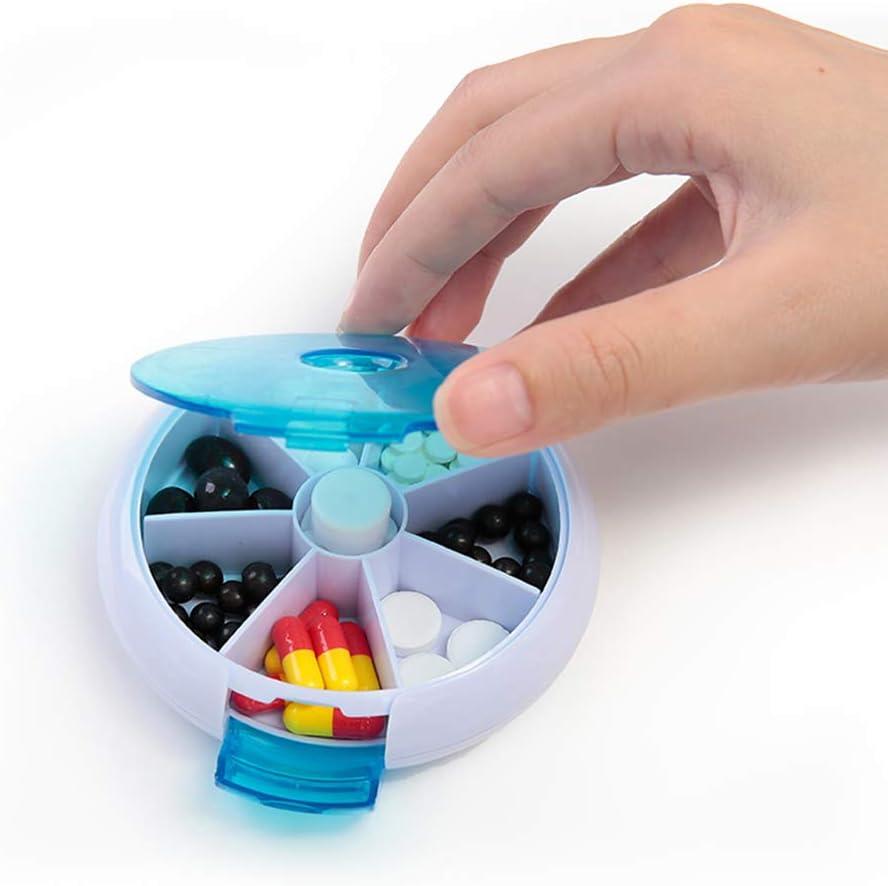 DANDANdianzi Mini Round 7 Jours Pill Voyage conteneurs m/édecine Effacer Rotation Dispenser Vitamines Bo/îte de Rangement