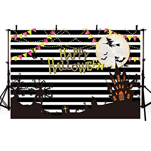 MEHOFOTO Happy Halloween Party Decoration Photo Studio Backgroud Black White Stripes Flags Banner Backdrops for Photography 7ftx5ft ()