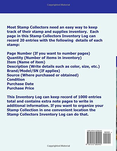 stamp collectors inventory log stamp collectors can keep track of