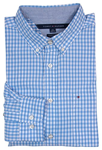 Tommy Hilfiger Mens Long Sleeve Classic Fit Button-Down Shirt - S - Blue/White