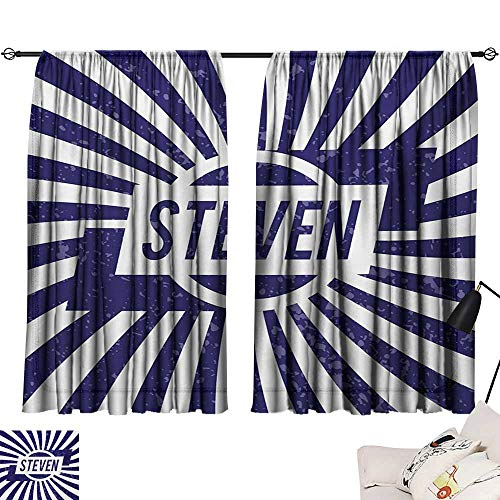 Steven Thermal Insulated Drapes for Kitchen/Bedroom Common English First Name for Boys in Blue and White Retro Composition Noise -