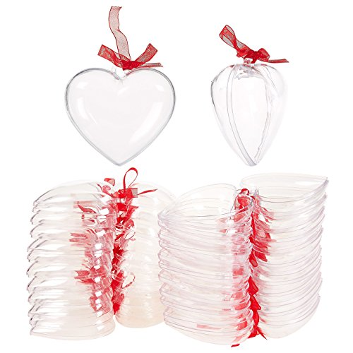 Juvale 24 Heart Fillable Ornaments - Heart Shaped Jewelry Container with Red Bows, Clear Acrylic Ornament for Storing Earrings, Rings, and Trinkets - 2.7 x 1.4 x 2.7 Inches - Ornament Trinket