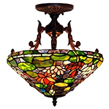 Bieye L10412 16-inches Water Lily Tiffany Style Semi Flush Mount Ceiling Light Fixture