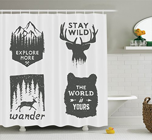 Quotes Shower Curtain Decor by Ambesonne, Wilderness Emblems Sign