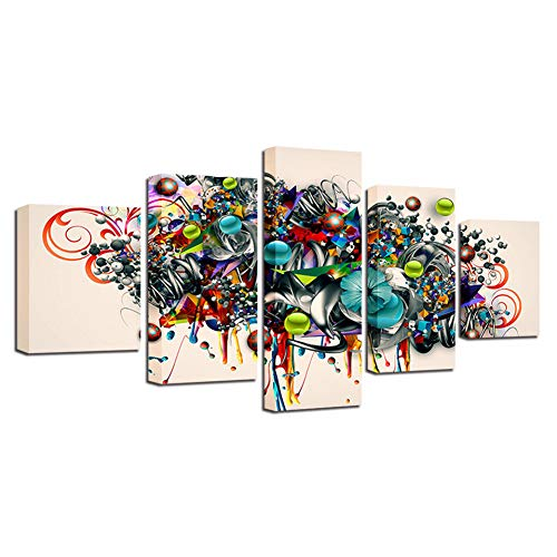 - WLEZY Printing Abstract Painting Decor Art 5 Pieces Color Insects Ladybugs Butterflies and Flower Canvas Pictures Modular 30x40 30x6030x80cm
