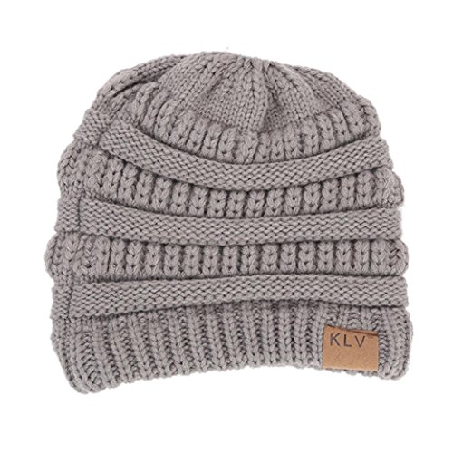 Forthery Women Winter Knit Hat Ponytail Beanie Hat, Warm BeanieTail Soft Stretch Cable Knitted Hats (Gray) (Hatchet Wire)