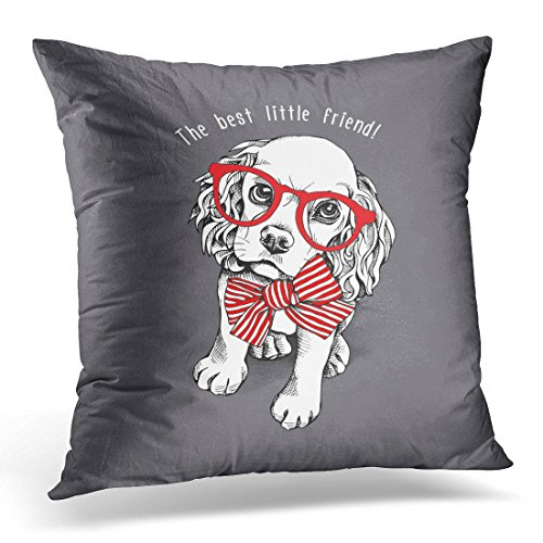 Spaniel Throw (UPOOS Throw Pillow Cover White Dog Puppy Cocker Spaniel in Red Striped Bow and with Glasses on Gray Animal Bowtie Decorative Pillow Case Home Decor Square 18x18 Inches Pillowcase)