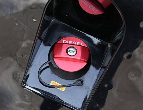 (Aluminum alloy Diesel Fuel Tank Cap Trim Sticker For Land Rover Defender 90 110 (red) )