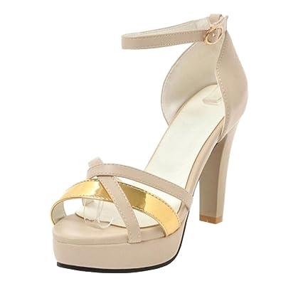 9c22e0dc6a4593 TAOFFEN Damen Party Schuhe High Heel Sandalen Plateau Riemchen Sandaletten  Apricot Size 34 Asian