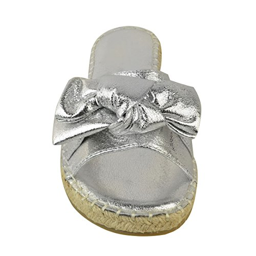 Heelberry® Ladies Womens Comfy Sliders Flats Slip On Shoes Slides Espadrille Bow Slippers Silver Metallic Crinkle E9DD833h