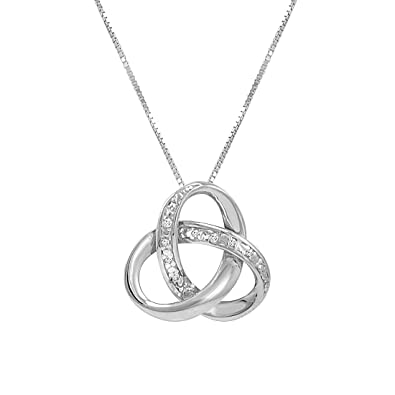 c5fc0c994f4db Sterling Silver Diamond Love Knot Pendant- Necklace on an 18inch Box Chain