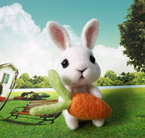 Natural Wool Roving Needlecrafts Needle Felted Felting Character Starter Kit: Lovely Rabbit and carrot