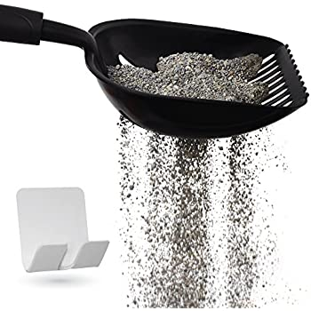 Gorilla Grip Original Cat Litter Scooper, Free Holder, Durable Solid Aluminum, Non-Stick Deep Scoop Shovel for Sifting Kitty Litter, Perfect for Cats, Waterproof + Rust Resistant, Comfy Grip Handle