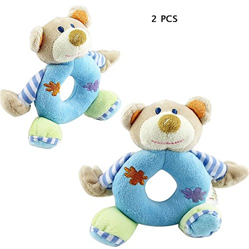 (KateDy 2pcs Hand Bells for NewBorn Babies,Kids Baby Lovely First Rattles Soft Animal Model Hand Bells Rattles Handle Developmental Toys Baby Hanging Bed Safety-Blue Bear)